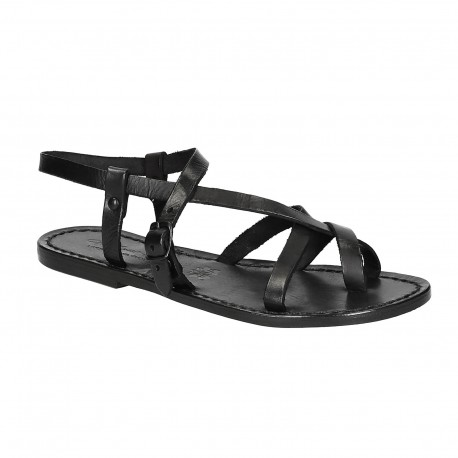 Sandale en cuir noir artisanale pour femme travaillé à la main