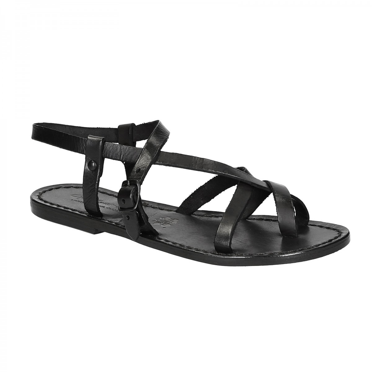 52ba1114511a Womens black strappy sandals handmade in cuir leather. Loading zoom
