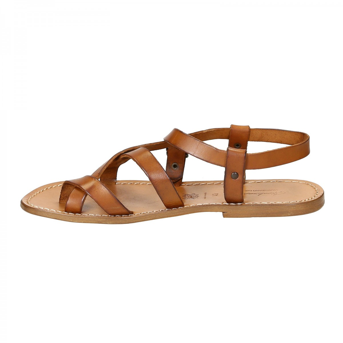 0f729dd3a Handmade leather sandals for men in vintage cuir color. Previous. Next