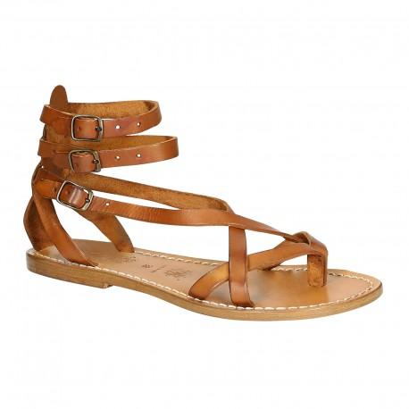 Spartiate sandales pour femme en cuir vieilli travaillé à la main