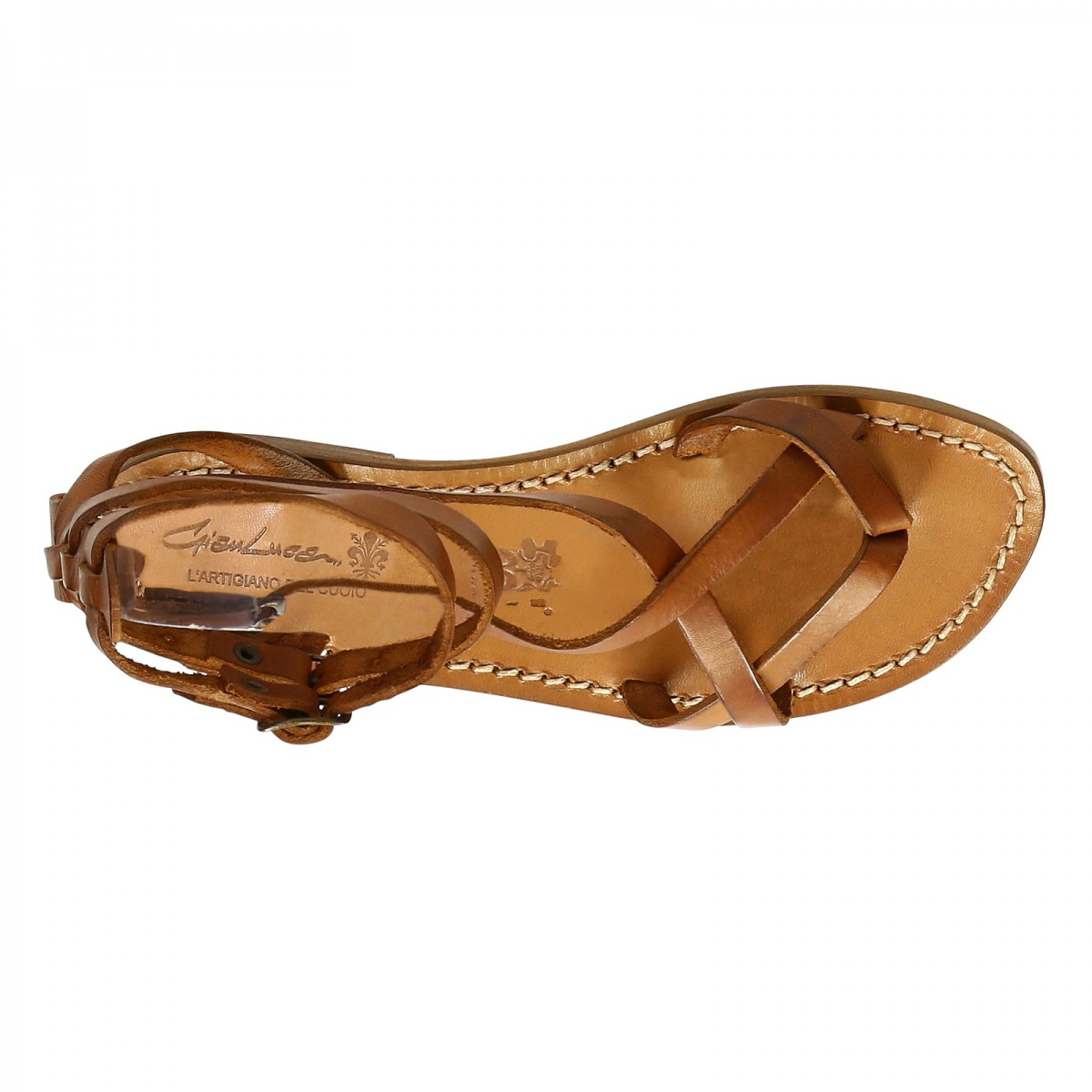 Womens Strappy Leather Sandals Handmade In Italy In -5114