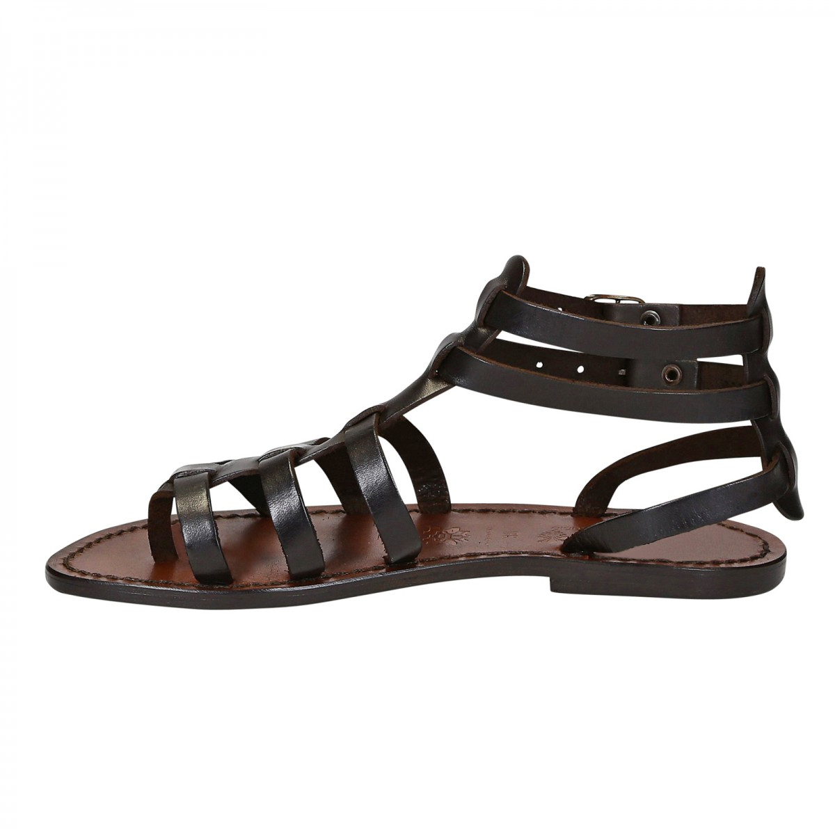 1f3e1caa0022 Dark brown gladiator sandals for women real leather Handmade in Italy.  Previous. Next