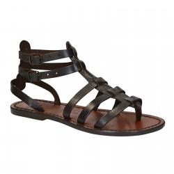 Sandalias gladiador marrón oscuro para las mujeres reales de cuero hecho a mano en Italia