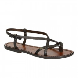 Ladies handmade sandals in dark brown leather Made in Italy