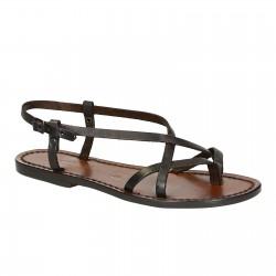 Señoras sandalias hechas a mano en marrón oscuro cuero Made in Italy