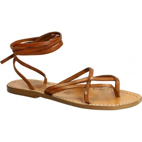 Spartiates sandales femme artisanales fait en Italie en Cuir vieilli