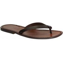 Hand gefertigte dunkelbraune Leder-Sandaletten für Männer