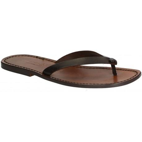 Sandalias de cuero marrón oscuro tangas para hombres hecho a mano