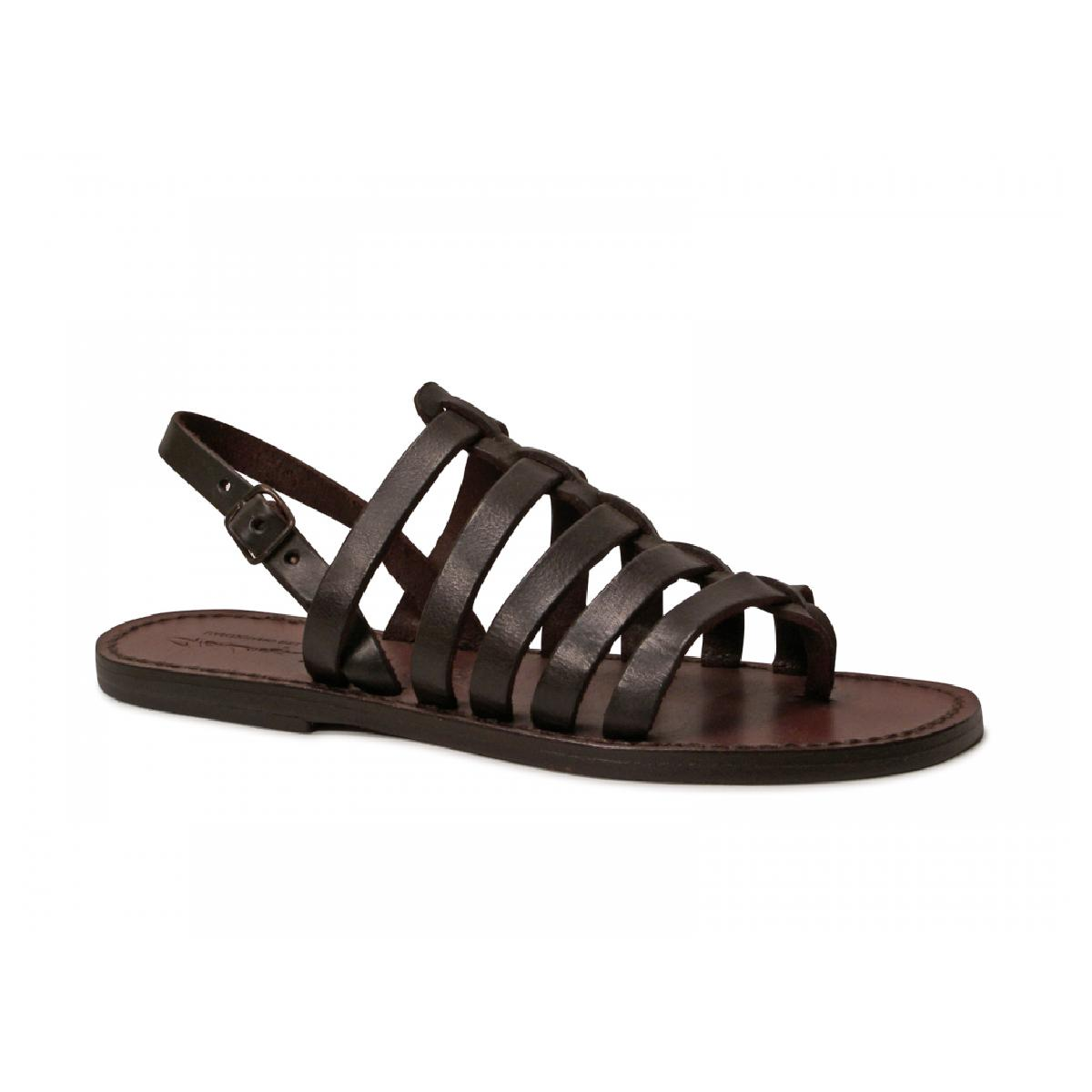 sandals tongs femme en cuir coulor marron pas cher gianluca l 39 artisan du cuir. Black Bedroom Furniture Sets. Home Design Ideas