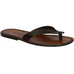 Hand gefertigte Herren-Sandalen mit Leder-Reimen. Made in Italy