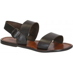 Brown leather women's franciscan sandals handmade in Italy