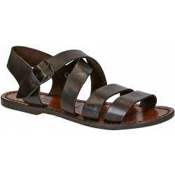 Brown leather ladies franciscan sandals handmade in Italy
