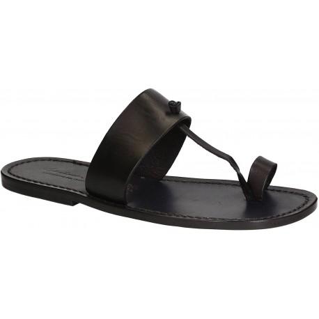 Sandals tong cuir homme noir fait à la main en Italie
