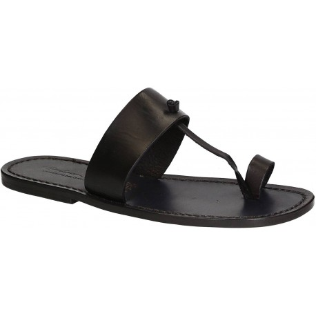 Schwarze Flip-Flop-Ledersandalen für Männer in Italien von Hand gefertigt