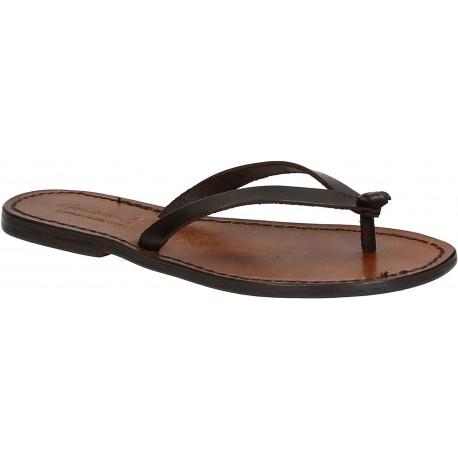 Handmade thong sandals for women dark brown leather