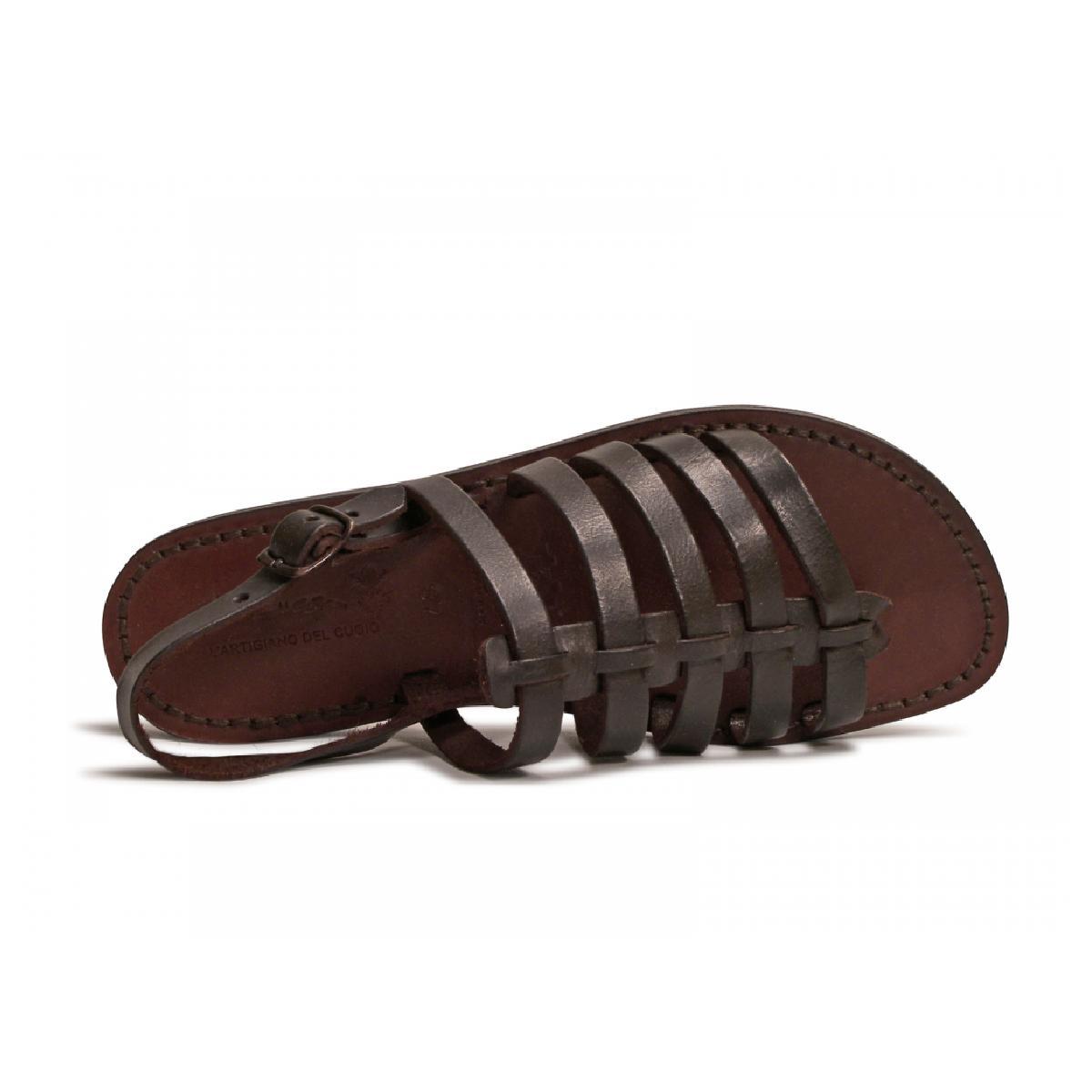 damen flip flop sandalen aus braunem leder in italien von. Black Bedroom Furniture Sets. Home Design Ideas