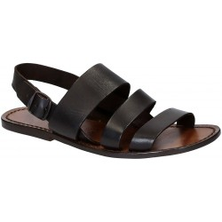 Brown leather sandals handmade in Italy for men's