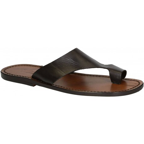 Herren Flip-Flop-Sandalen aus braunem Leder in Italien von Handgefertigt