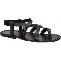 Sandalias gladiador para los hombres de piel de becerro negro real