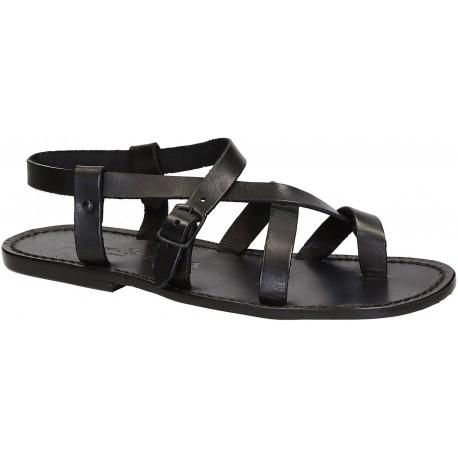 Sandales pour homme en cuir noir travaillé à la main