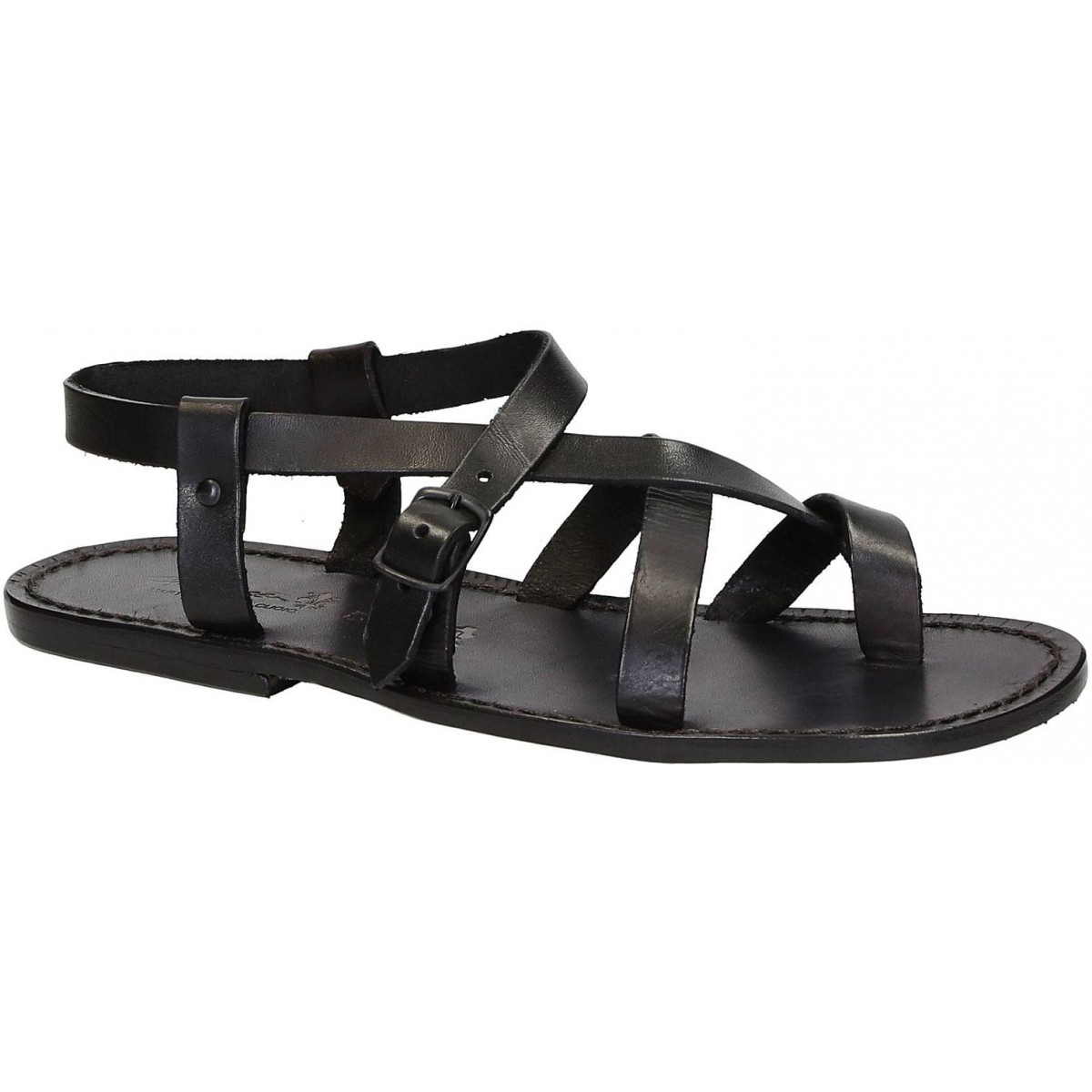 eea9516be1f1c Gladiator sandals for men in black real calf leather. Loading zoom