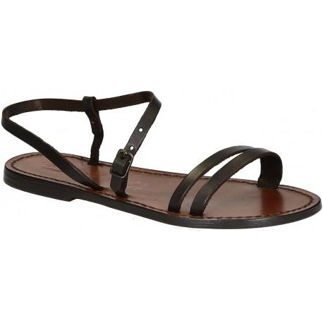 Handmade dark brown flat sandals for women