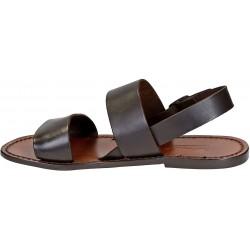 Hand gefertigte Franziskaner-Sandalen für Damen aus braunem Leder