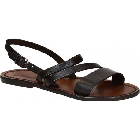 Flache Sandalen in dunkelbraunem Leder für damen