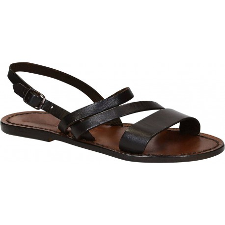 Women's brown leather flat sandals handmade