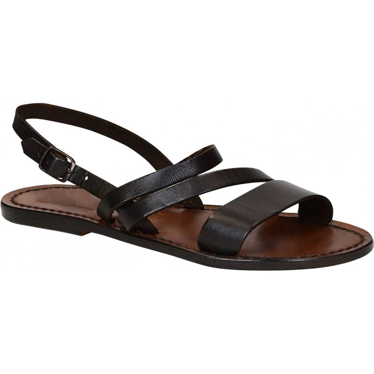large choix de designs vente chaude pas cher taille 40 Sandale plate pour femme en cuir marron artisanales