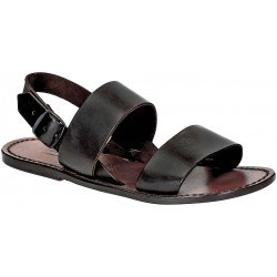 Sandales franciscains en cuir marron pour femme