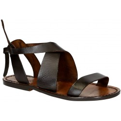 Women's dark brown leather sandals handmade in Italy