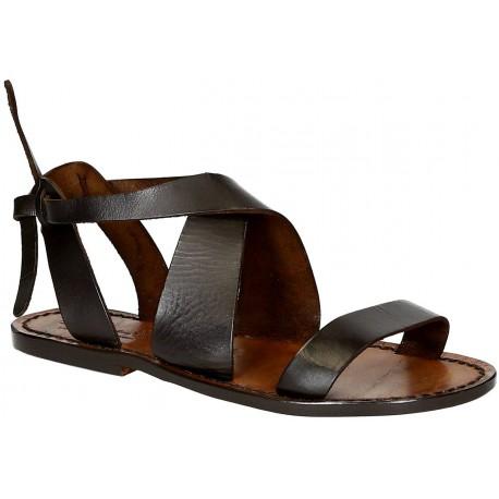 Sandales pour femme artisanales en cuir marron foncé