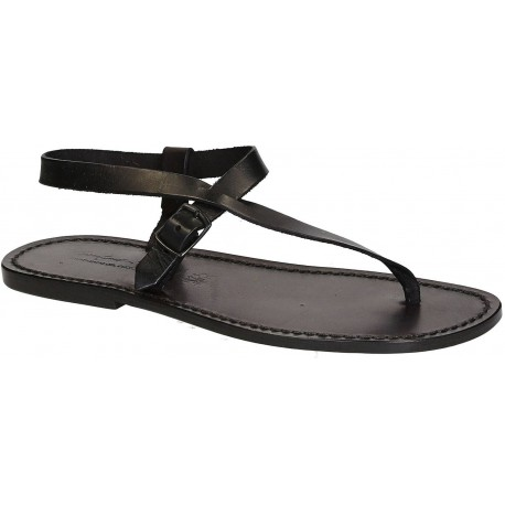 Handmade black leather thong sandals for men