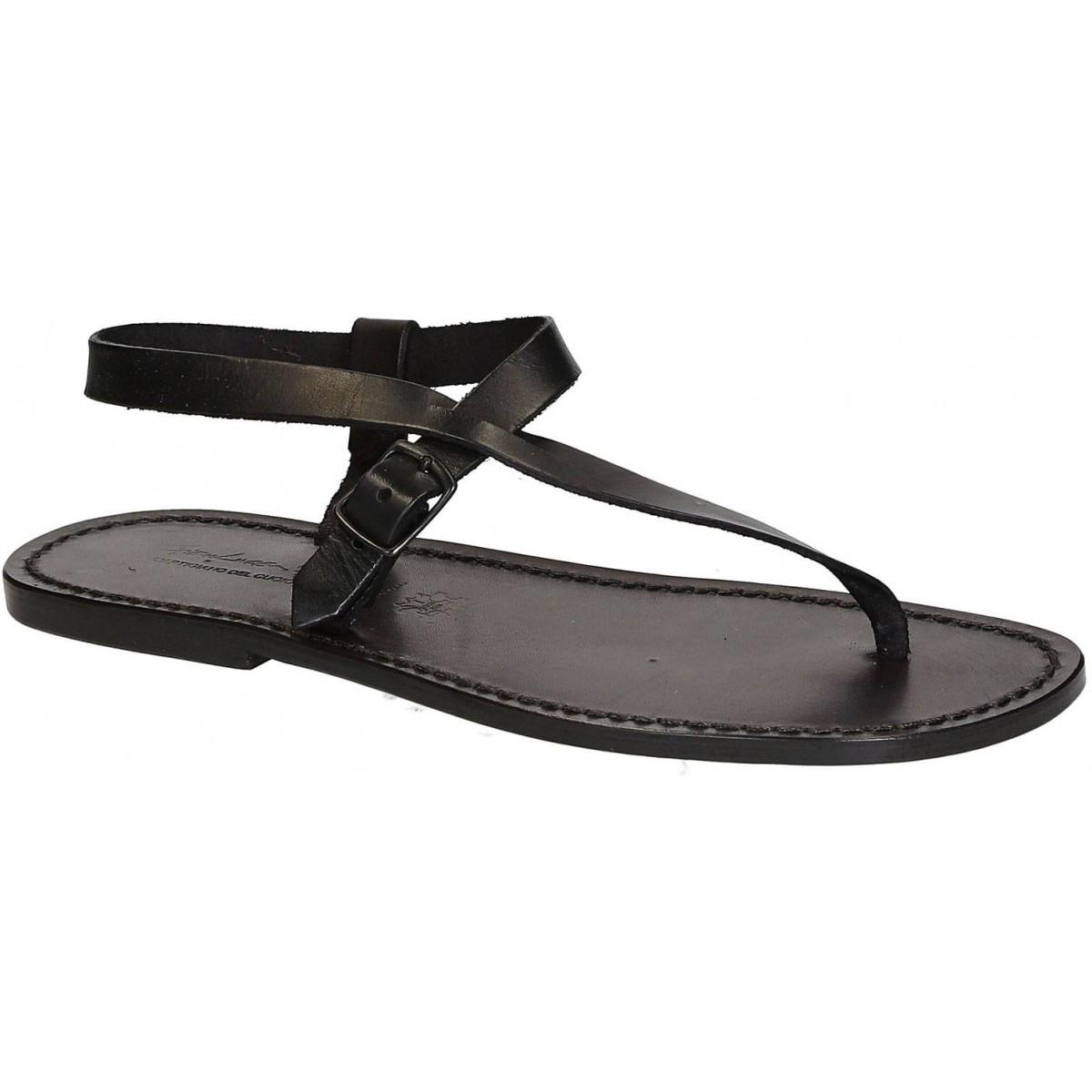 de49e19696f6 Herren Flip-Flop-Sandalen aus schwarze Leder in Italien von Handgefertigt