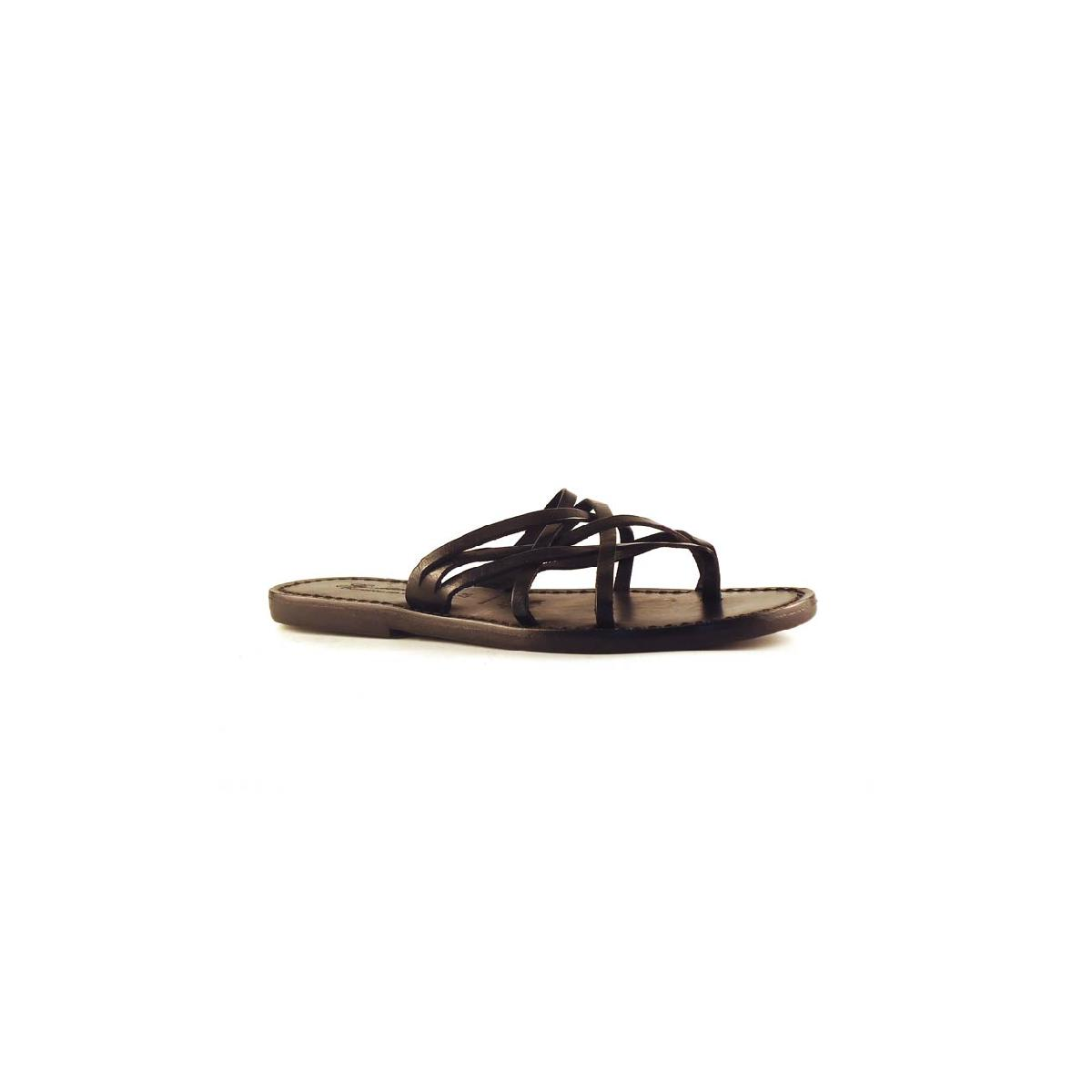 Handmade Black Braid Leather Womens Slippers Thongs With -6008