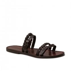 Cuero marrón oscuro sandalias de zapatillas hechas a mano de las mujeres