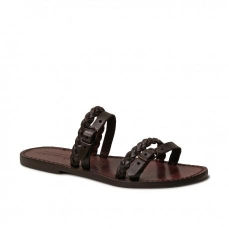 Handmade women's slipper sandals dark brown leather