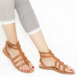 Flache Damen-Sandalen im Gladiator-Stil aus Leder in Italien von Hand gefertigt