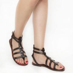 Dunkelbraune Damen-Sandalen im Gladiator-Stil aus Leder in Italien von Hand gefertigt