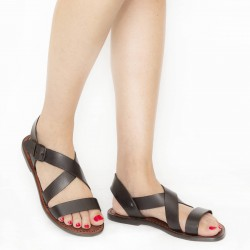 Brown leather women's sandals handmade in Italy