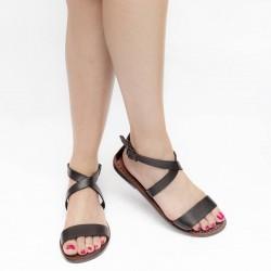 Sandalias marrones planas en cuero hecha a mano en Italia