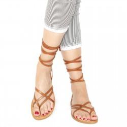 Sandalias de tiras de cuero cuero vintage de las mujeres hechas a mano en Italia