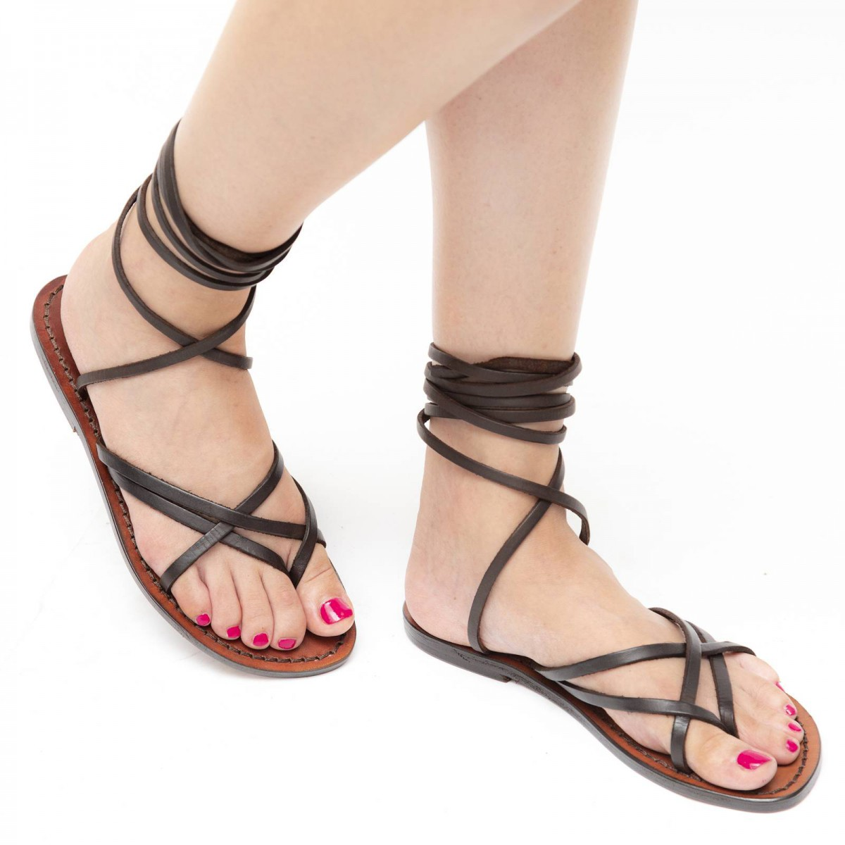 Womens Strappy Leather Sandals Handmade In Italy In Dark