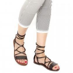 Sandali gladiatore fatti a mano in pelle testa di moro