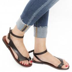 Riemchen-Sandalen für Damen aus braunem Leder in Italien von Hand gefertigt