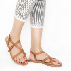 Sandales spartiates pour femme en cuir vieilli travaillé à la main