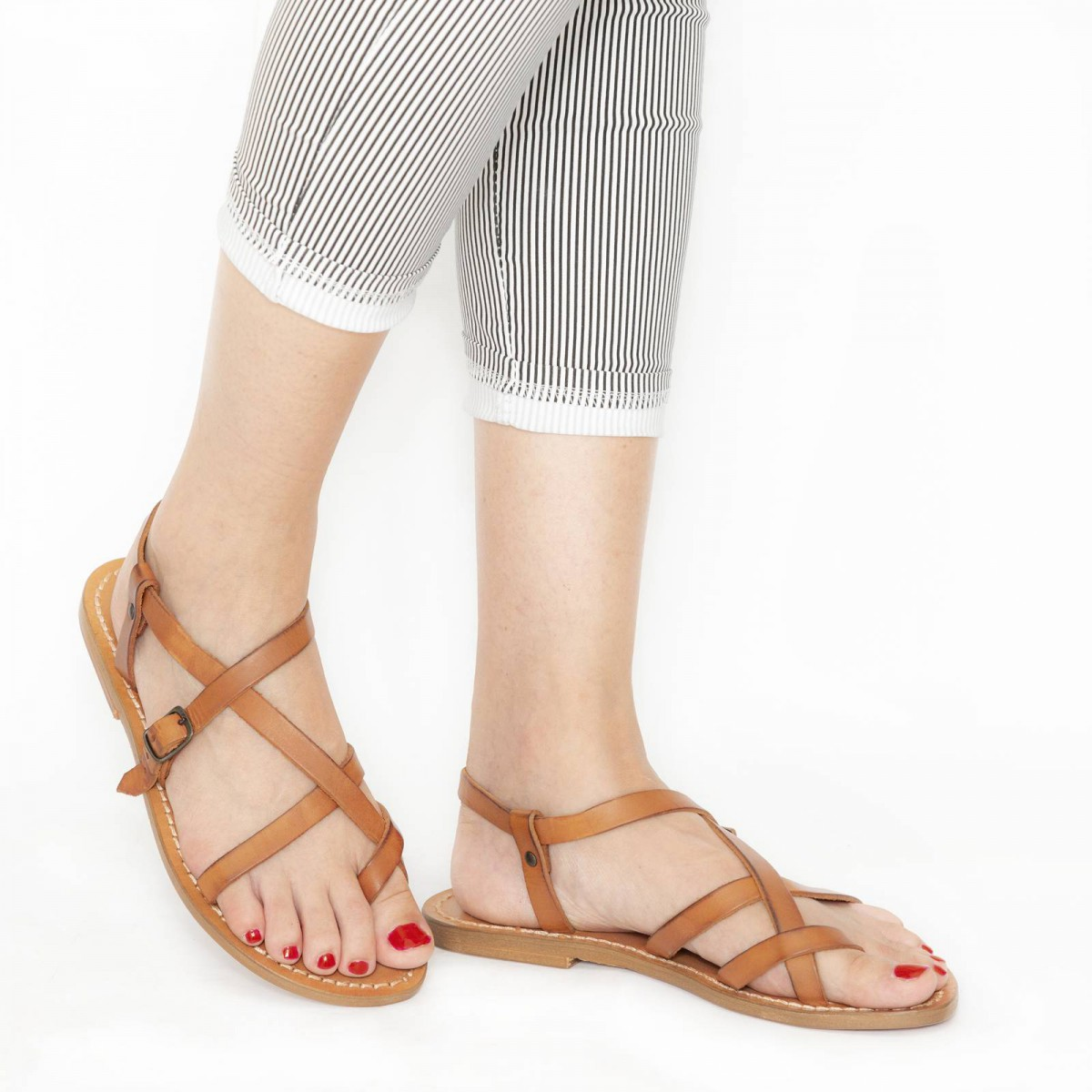 Handmade in Italy women/'s slave strappy sandals in vintage cuir leather