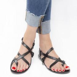 Las mujeres negro hecho a mano en cuero cuero sandalias de tiras