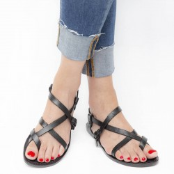 Damen Riemchen-Sandalen aus schwarzem Leder in Italien von Hand gefertigt